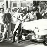 Hank Williams Jr. with the Warner Bros. Records promotion staff. Bruce Adelman, Christopher Palmer, Denny Mosesman, Nick Hunter Hank, Rick Moxley, Bob Saporiti, BIll Mayne, George Briner.